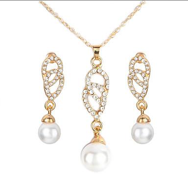 levne Dámské šperky-Dámské Náhrdelník Náušnice Jednoduchý Evropský Módní Napodobenina perel Náušnice Šperky Zlatá Pro Dar Denní Škola Dovolená Práce 1 sada