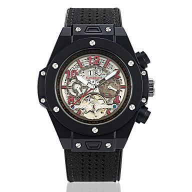 levne Pánské-Pánské mechanické hodinky Mechanické manuální natahování Pravá kůže Černá / Hnědá / Čokoládová 30 m Voděodolné Kalendář Svítící Analogové Outdoor Kostra - Hnědá Červená Modrá