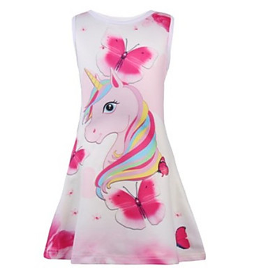 cheap Kids' New Arrivals-Kids Girls' Sweet Unicorn Animal Cartoon Print Sleeveless Knee-length Dress Blushing Pink