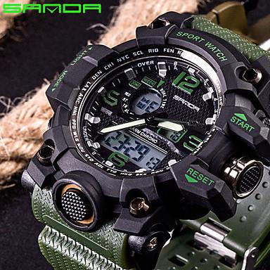 levne Pánské-SANDA Pánské Sportovní hodinky Inteligentní hodinky Náramkové hodinky japonština Digitální Silikon Černá / Bílá / Hnědá 30 m Voděodolné LED Hodinky s dvojitým časem Analog - Digitál Módní - Červen