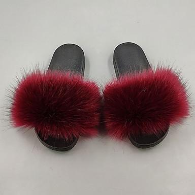 abordables Pantuflas-Pantuflas de Mujer Casa Zapatillas Casual Felpa Zapatos
