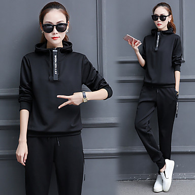 Women's 2-Piece Cotton Tracksuit Long Sleeve Workout Fitness Gym Workout Breathable Quick Dry Soft Sportswear Plus Size Hoodie Pants / Trousers Athleisure Wear Activewear Stretchy Slim