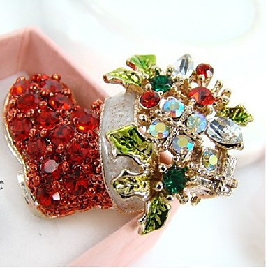 levne Dámské šperky-dámský vánoční drahokamový slitinový vánoční festival - květinový