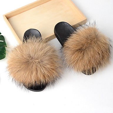 cheap Slippers-Women's Slippers House Slippers Casual Raccoon Fur Shoes
