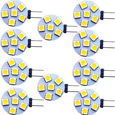 cheap Light Bulbs-10pcs 2 W LED Bi-pin Lights 120 lm G4 6 LED Beads SMD 5050 Warm White White 9-30 V