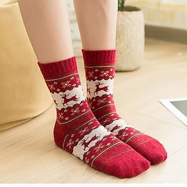 preiswerte Modische Unterwäsche-Damen Socken - Weihnachten Medium Rote Beige