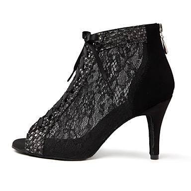 preiswerte Dance Boots-Damen Tanzschuhe Spitze Tanzstiefel Spitze / Farbaufsatz Stiefel Schlanke High Heel Schwarz / Kaki