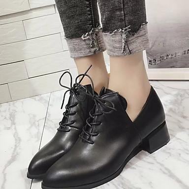 levne Dámské boty s plochou podrážkou-Dámské Bez podpatku Rovná podrážka Oblá špička PU Podzim zima Černá / Zelená