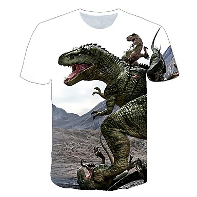 cheap Boys' Tops-Kids Toddler Boys' Active Street chic Fantastic Beasts Dinosaur Print Short Sleeve Tee Yellow
