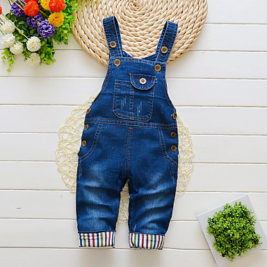 cheap Baby Boys' Bottoms-Baby Boys' Basic Print Overall & Jumpsuit Blue