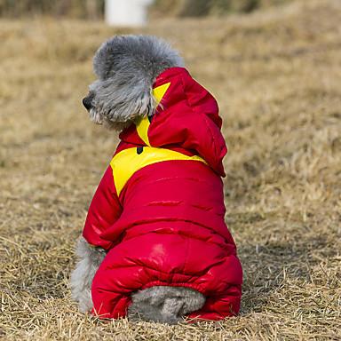 Katt Hund Kappor Huvtröjor Outfits Vinter Hundkläder Orange Grön Röd Kostym Cotton Färgblock Håller värmen Vindtät Sport XS S M L XL XXL