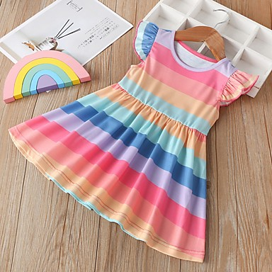 cheap Kids Collection Under $8.99-Kids Girls' Striped Dress Rainbow