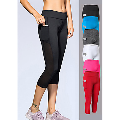 YUERLIAN Women's High Waist Yoga Pants Pocket Red Fuchsia Blue White Black Mesh Elastane Running Fitness Gym Workout Leggings 3/4 Capri Pants Sport Activewear Quick Dry Power Flex 4 Way Stretch High