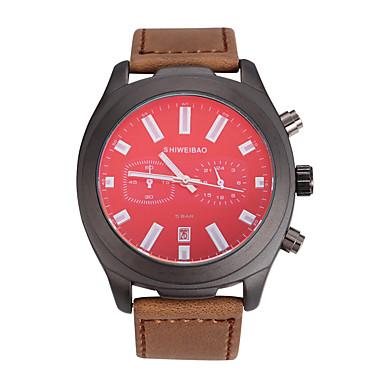 levne Pánské-SHI WEI BAO Pánské Sportovní hodinky Vojenské hodinky Křemenný Retro styl Sportovní Kůže Černá / Čokoládová 30 m Armáda Voděodolné Kalendář Analogové Vintage Módní - Černá Hnědá Bílá Jeden rok