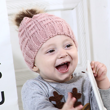 preiswerte Kinder Schals-Baby Jungen / Mädchen Aktiv / Süß Solide Gestrickt Acryl / Strickware Hüte & Kappen / Schals / Schal, Hut & Handschuhset Schwarz / Weiß / Rosa Einheitsgröße