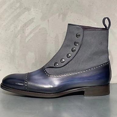 abordables Bottes Homme-Homme Cowboy / Western Boots Hiver Rétro Vintage / Britanique Quotidien Bottes Marche Cuir Waterproof Preuve de l'usure Bottine / Demi Botte Violet / Jaune / Bleu / Rivet