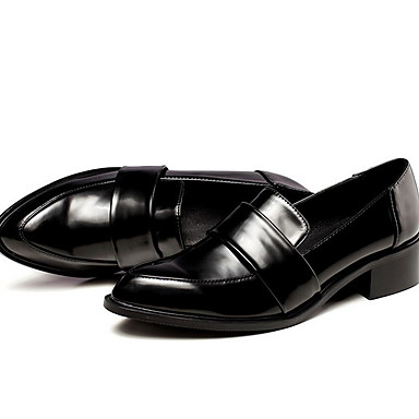levne Dámské boty s plochou podrážkou-Dámské Bez podpatku Rovná podrážka Oblá špička PU Kotníčkové Podzim zima Černá / Hnědá