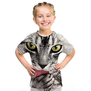 cheap Baby & Kids-Kids Girls' Active Street chic Print 3D Print Short Sleeve Tee Rainbow