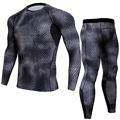 JACK CORDEE Homens Manga Longa Calça com Camisa para Ciclismo Camisa para Ciclismo Preto Moto Conjuntos Redutor de Suor Esportes Poliéster Estampa de Pêlo Animal Roupa / Elasticidade Alta