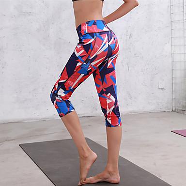 สำหรับผู้หญิง เอวสูง กางเกงโยคะ กระเป๋า ลายพิมพ์ สีดำ สีม่วง ฟ้า สีเทา สีบานเย็น วิ่ง การออกกำลังกาย ยิมออกกำลังกาย 3/4 กระโปรง Capri กีฬา ชุดทำงาน Butt Lift Tummy Control หลักฐานหมอบ ความยืดหยุ่นสูง