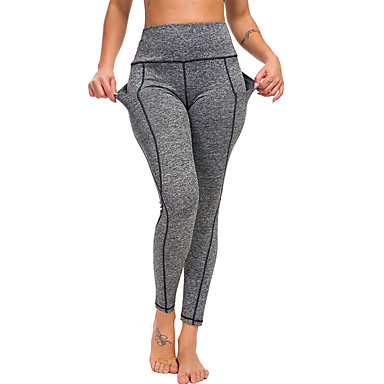 cheap Exercise, Fitness & Yoga-Women's High Waist Yoga Pants Pocket Leggings Butt Lift Black Grey Gym Workout Running Fitness Sports Activewear High Elasticity Slim
