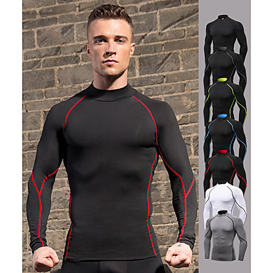 cheap Exercise, Fitness & Yoga-YUERLIAN Men's Compression Shirt Summer Dark Grey Black / Red White Black Black / Green Fitness Gym Workout Running Tee Tshirt Base Layer Long Sleeve Sport Activewear Windproof 4 Way Stretch Quick