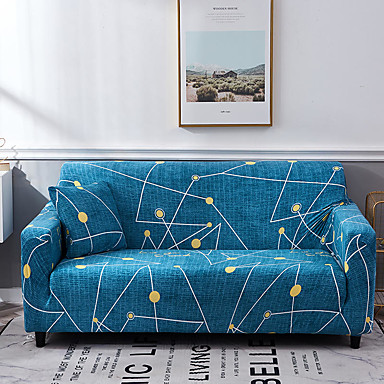 cheap Slipcovers-Blue Constellation Print Dustproof All-powerful Slipcovers Stretch Sofa Cover Super Soft Fabric Couch Cover with One Free Pillow Case