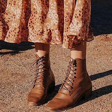 preiswerte Damenschuhe-Damen Stiefel Niedriger Heel Runde Zehe PU Mittelhohe Stiefel Herbst Winter Schwarz / Braun / Gelb