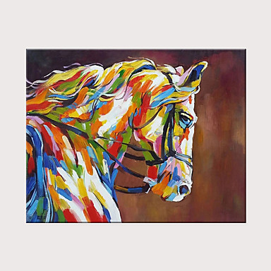 cheap Rolled Canvas Paintings-Oil Painting Hand Painted - Abstract Animals Modern Rolled Canvas