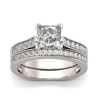 1197  2PCS ENGAGEMENT/& WEDDING RING SET SIMULATED DIAMOND STERLING SILVER BAND