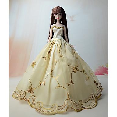 Dukkekjole Kjoler Til Barbie Blonder Lys Gylden Polyester / Bomull Blonde Kjole Til Jentas Dukke