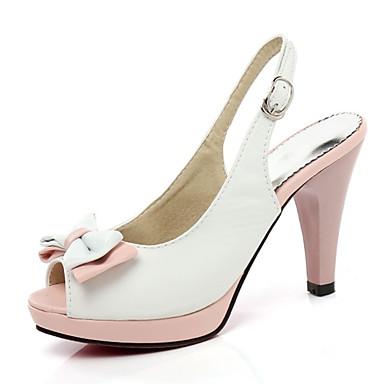 Mulheres Sandálias Salto Agulha Peep Toe Laço / Presilha Couro Ecológico Verão Branco / Azul / Rosa claro / Estampa Colorida