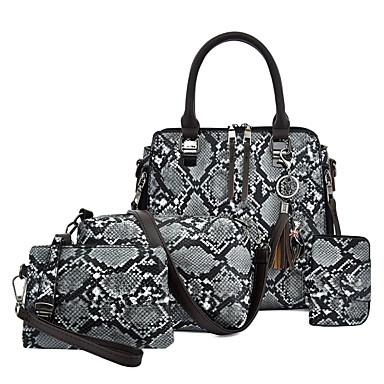 preiswerte Shoes Trends-Damen Quaste PU Bag Set Schlangenhaut 4 Stück Geldbörse Set Schwarz / Braun / Blau