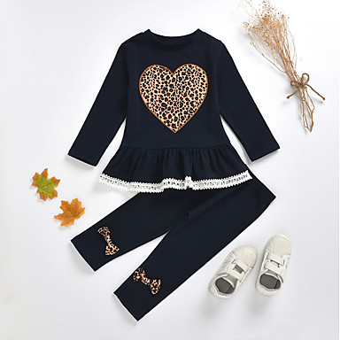 cheap Baby & Kids-Kids Toddler Girls' Basic Chinoiserie Daily Wear Festival Leopard Solid Colored Bow Print Long Sleeve Regular Regular Clothing Set Navy Blue