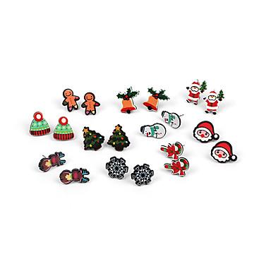 preiswerte Damenschmuck-Damen Ohrstecker Ohrring Ohrringe Set Klassisch Santa Anzüge Schneeflocke Weihnachtsbaum Einfach Klassisch Zeichentrick Modisch Mehrfarbig Ohrringe Schmuck Regenbogen Für Weihnachten Geschenk Alltag