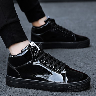 cheap Men's Sneakers-Men's Comfort Shoes Patent Leather Fall Sneakers Black / Gold / Silver