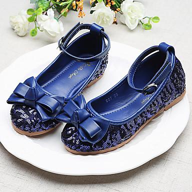 preiswerte Kids' Flats-Mädchen Schuhe für das Blumenmädchen Kunststoff Flache Schuhe Kleine Kinder (4-7 Jahre) / Große Kinder (ab 7 Jahren) Schleife / Paillette / Schnalle Rot / Blau Frühling / Herbst