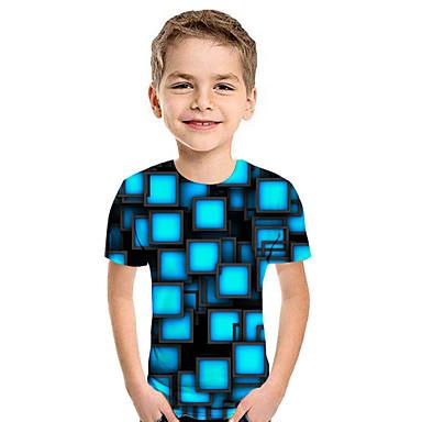 preiswerte Kapuzenpullover & Sweatshirts für Jungen-Kinder Jungen Aktiv Street Schick Geometrisch 3D Patchwork Druck Kurzarm Kapuzenpullover Blau