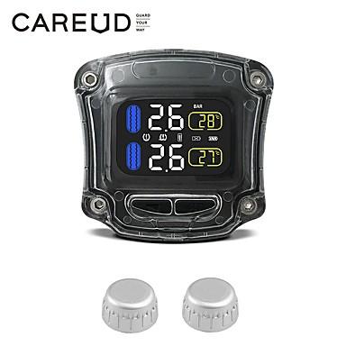 povoljno Mjerač tlaka u gumama-motocikl tpms sustav praćenja tlaka u gumama 2 vanjski senzor bežični LCD monitor moto auto guma alarmni sustavi crni