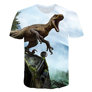 cheap Boys' Tops-Kids Toddler Boys' Active Street chic Fantastic Beasts Dinosaur Animal Print Short Sleeve Tee Yellow