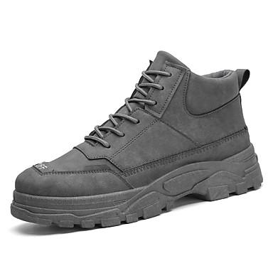 Homens Fashion Boots Couro Ecológico Inverno Casual Botas Não escorregar Botas Curtas / Ankle Preto / Marron / Cinzento Escuro