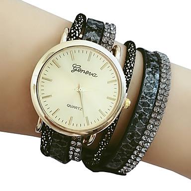 levne Pánské-Dámské Náramkové hodinky Na běžné nošení Elegantní Černá PU kůže čínština Křemenný Černá Hodinky na běžné nošení Velký ciferník 1 ks Analogové Jeden rok Životnost baterie