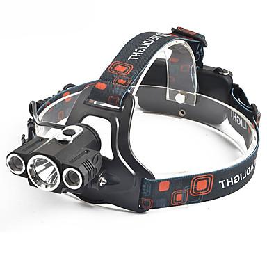 Hodelykter sikkerhet lys Frontlys til sykkel 1000 lm LED 3 emittere 3 lys tilstand med batterier og lader Profesjonell Slitasje-sikker Camping / Vandring / Grotte Udforskning Dagligdags Brug Sykling