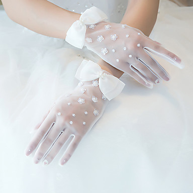 cheap Party Gloves-Nylon Wrist Length Glove Lace / Gloves With Frog Button / Trim