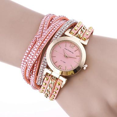 levne Pánské-Dámské Náramkové hodinky Na běžné nošení Elegantní Růžová PU kůže čínština Křemenný Světlá růžová Hodinky na běžné nošení 1 ks Analogové Jeden rok Životnost baterie