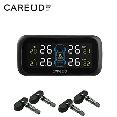 cheap Vehicle Tire Gauges-Car TPMS Tyre Pressure Monitoring System LCD Cigarette Lighter USB Charger 4 Internal SensorIP5K4K