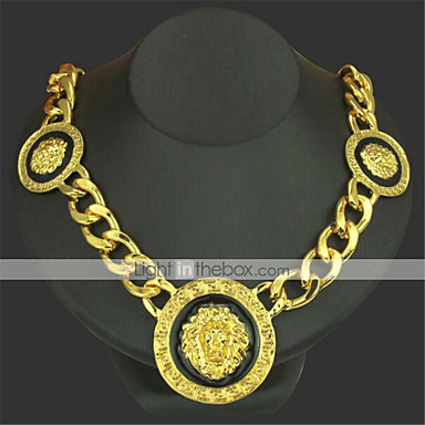 cheap Pendant Necklaces-Men's Pendant Necklace Chain Necklace Classic Lion Precious Unique Design Fashion Gold Plated Chrome Gold Silver 50 cm Necklace Jewelry 1pc For Daily Street