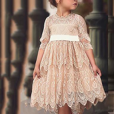 cheap Baby & Kids-Toddler Girls' Color Block Half Sleeve Above Knee Dress White