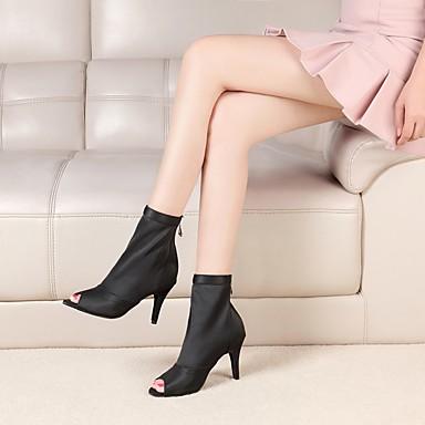 preiswerte Dance Boots-Damen Tanzschuhe Nappaleder / Elastisches Gewebe Tanzstiefel Quaste / Farbaufsatz Stiefel Schlanke High Heel Schwarz / Khaki