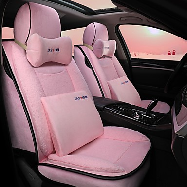 Set Cute Pink Long Plush 5-seat Auto Car Seat Cover Pad Cushion Protector Winter